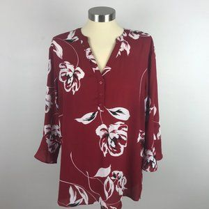 Maurices XL Red Shear Bell Sleeve Floral Top